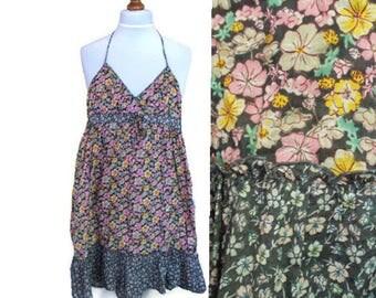 Vintage Floral dress, Boho dress, Bohemian dress, Floral dress, Summer dress, Cotton dress, Ruffle dress, Sun dress, Beach dress, Size S