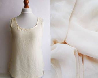 Vintage Sheer Top, Sheer blouse, Sleeveless sheer top, Yellow sheer top, womens sheer, See through top, Summer top, See through blouse, M