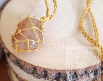Yellow Quartz Macrame Necklace
