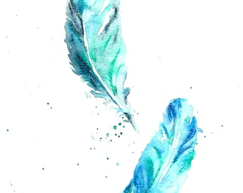 2 Blue Feathers Original Watercolour Painting