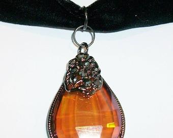 Amber Glass Pendant with Velvet Choker