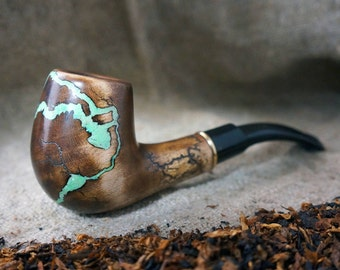 """Smoking pipe """"Lightning""""with Turquoise and Fluorescent -Tobacco smoking pipes -Exclusive Wood Pipe -Smoking bowl-Tobacco bowl-Christmas gift"""