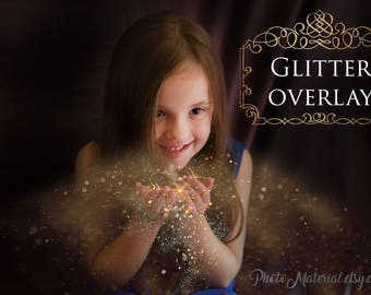 Photoshop Overlay Gold Blowing Glitter Overlays Digital Photo Editing Template