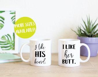 I Like His Beard I Like Her Butt Mug /  Couples Gift / Butt Mug / Funny Boyfriend Mug / Girlfriend Mug / Couples Mugs / Glass Mug / Mug Gift