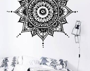 Full Mandala H44 - Home or Office Wall Mandala - BLACK Vinyl Decal