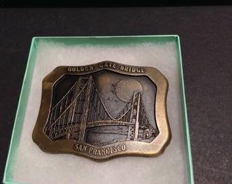 Golden Gate Bridge San Francisco souvenir belt buckle, Indiana Metal Craft 1977.