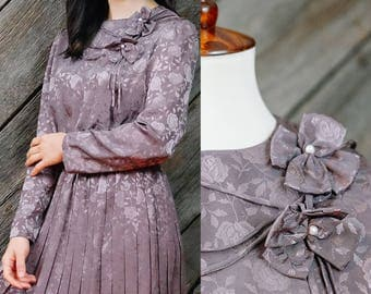 Mauve brown rose dress / Japanese Vintage / Feminine dress / Romantic dress / 60s / 70s / Secretary dress / Holiday dress / Mod / Size XS-S