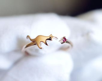 Cat Engagement Ring Red Ruby Ring Red Ruby 14k Gold Ring 18k Gold Cat Ring Cat Gemstone Gold Ring  14K Gold Cat Wedding Ring 18K Cat Ring