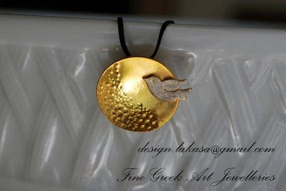 Dove Necklace Sterling Silver Gold plated Handmade Jewelry Greek Art Gift for her Birthday Anniversary Woman Mother day Love Peace Harmony