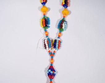 Vintage Czech Glass Mardi Gras Beads Necklace