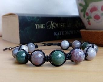 Women's bracelet, Shamballa bracelet, indian agate bracelet, 8mm agate, thread bracelet, nylon thread, slip knot, Bohostyle, Hippiestyle