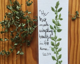 An Original, Laminated, Watercolor Bookmark, Thyme herb with Scripture