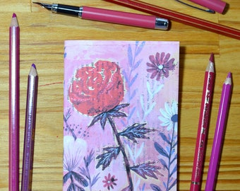 Small illustrated notebook - Rose