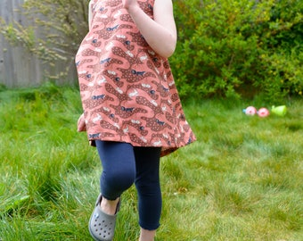 Girls handmade cotton Pinafore dress - Bunny Tunnels in Clay Red. 2-3 years.