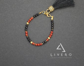 SUMMER bracelet. Onyx bracelet with tassel. Carnelian bracelet. Tassel bracelet. Womens minimalist bracelet. Girlfriend gift. Minimalism
