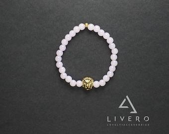 LION Rose Quartz bracelet. Rose Quartz bracelet with LION. Womens Rose Quartz bracelet. Lion bracelet. Quartz bracelet. Rose Quartz bracelet
