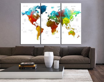 3 pieces world map etsy push pin world map canvas print 3 pieces wall art world map art for home decor gumiabroncs Choice Image