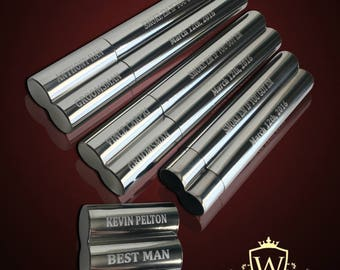 8 Groomsmen cigar cases - Personalized custom etched double cigar holder - Wedding cigar enthusiasts gift set - Best Man & Groomsman gift