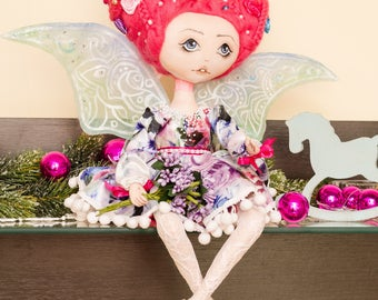 Flowers fairy doll. Handmade doll. Collectible doll. Interior doll. Art doll. Cloth doll. Rag doll. Textile doll. Elf doll. Soft doll.Toys