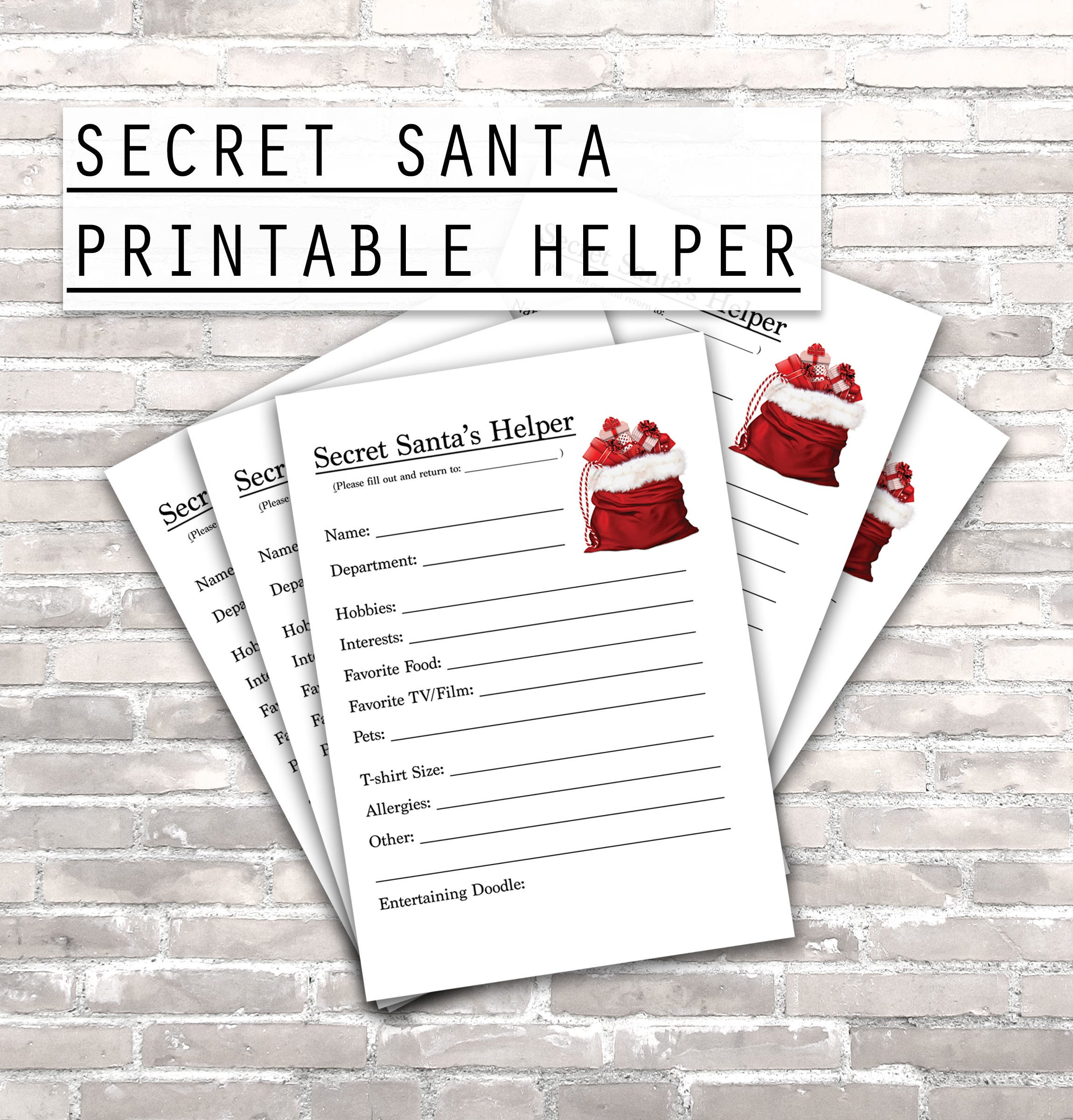 Secret santa helper printables