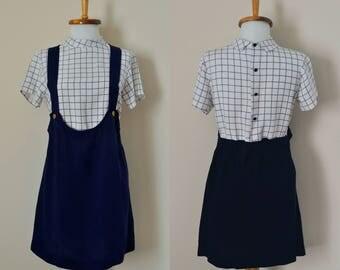 1960s Mini Dress Mod Plaid / Size S / Vintage 1970s Blue Shift Dress Pinafore Overalls Suspenders Jumper / Nautical Maritime Summer Festival