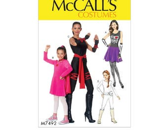 McCall's 7492 - Misses'/Girls' Skeleton, Hero, Ninja or Fighter Costumes