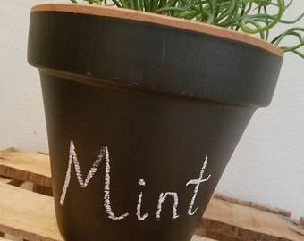 Chalkboard Pot, Chalkboard Planter, Herb Planters