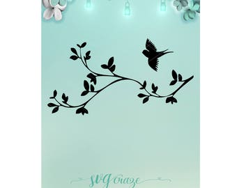 Bird Branch / Bird Svg / Svg / Branch Svg / Mason Jar / Night Light / Bird Dxf / Branch Dxf / Bird Png / Branch Png