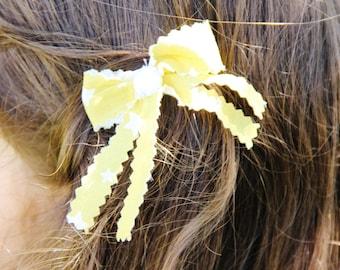 Hair Bows, Fabric Hair Clips, Girl Hair Clips, Girl Barrettes, Hair Snap Clips, Hand Made Bow Barrettes, Yellow Bows,  Shimmering Bead