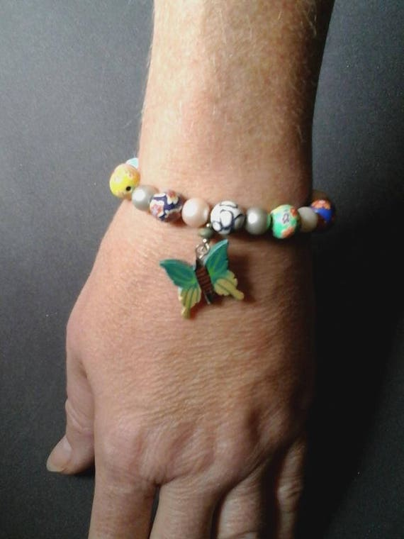 Polymer Clay Bead, Glass Pearls Bracelet, Wooden Butterfly Charm, Stretchy Nylon Bracelet, Women's Size Small Stretchy