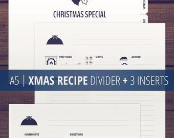 Christmas Recipe Templates / A5 Recipe Cards / Recipe Pages / Recipe Divider and Inserts / Printable Recipe Binder / Minimalist, clean / PDF