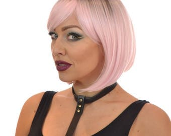 Rooted Pastel Pink Bob Wig with Fringe | Hair By MissTresses Katy Wig