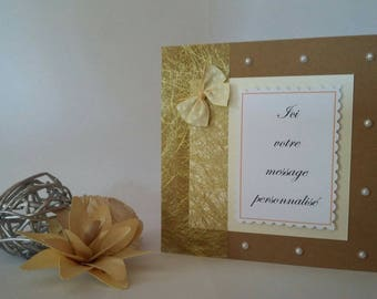 CUSTOMIZABLE card with matching envelope C0003 gold and pearls