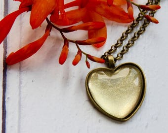Gold Heart Necklace - Bronze Pendant - Handmade Jewellery - Heart Necklace