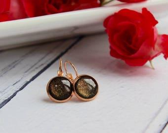 Galaxy Earrings - Hoop Earrings - Rose Gold Earrings - Galaxy Jewellery - Rose Gold Jewellery - Handmade Earrings