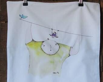 Set of two napkins / 100% cotton / cotton mix / illustration original watercolor