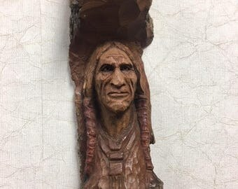Grey Eagle  Native American cottonwood bark carving