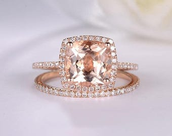 Cushion Cut Morganite Engagement Rings Rose Gold Halo Diamond Wedding Band Women Unique Eternity Band Antique Bridal Ring Set Anniversary