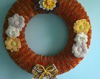 Hand crafted Autumn/Fall/Harvest wreath/wall hanging rich Autumn colours
