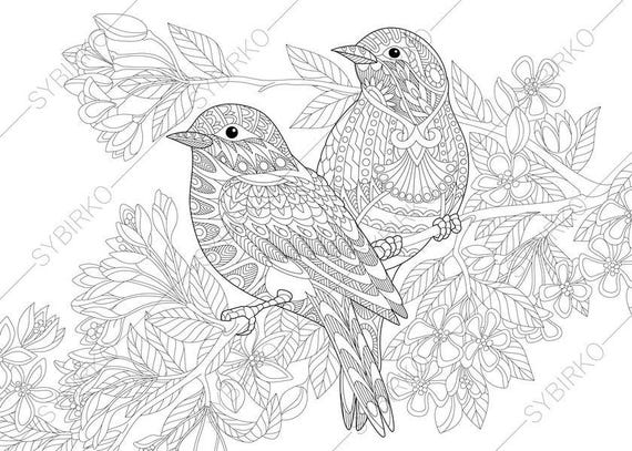 Two Birds Spring Flowers Blossoming Tree Coloring Pages