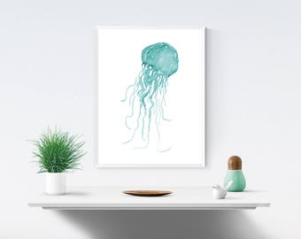 Teal Jellyfish 2, Printable Instant Digital Download, Watercolour Painting, Wall Art, Blue, Green, Turquoise Art
