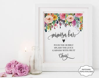 Mimosa Bar Sign Brunch and Bubbly Bridal Shower Sign Champagne Juice Bar Boho Chic Anniversary Birthday Printable Garden Floral Peony PCFDWS