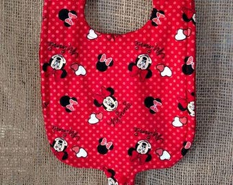 Minnie Mouse Pacifier Bib-Triple Layer-Binky Bib-Baby Girl-Baby Shower-Minky Pacifier Bib-Minnie Mouse-Red-Bow-Infant-Toddler-Cotton Fabric
