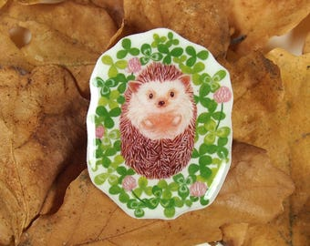 hedgehog brooch, cute animal pin, spring accessory, hedgehog gift, illustrated pin, resin brooch, kawaii pin, hedgehog jewellery, christmas
