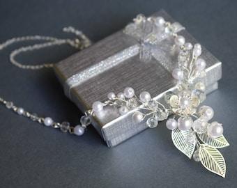 Wedding Necklace, Cherry Flower Necklace, Czech Crystal Necklace, Bridal Necklace, Wedding Jewelry