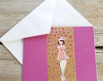 Pink Christmas Cards - Glitter Card - Girly Christmas - Pink Greeting Card - Sparkly Card - Naughty Christmas - Pink Holiday - Fun Cards