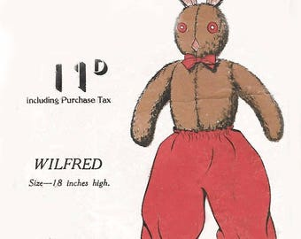 "Vintage 1940's Practical Reproduction Sewing Pattern Wilfred Rabbit 18"" Rare WW2"