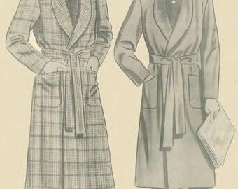 Vintage 1940's Sewing Pattern Debonair Men's Dressing Gown Robe WWII WW2