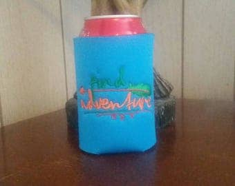 Find Adventure Can Cooler, Embroidered Can Cooler, Birthday Cozies, Embroidery Can Cooler, Cozies, Blue Can Cooler, Blue Cozies, Blue Cozy