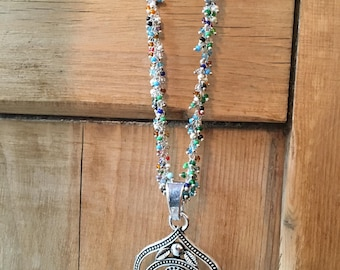 Multi Gemstones Rosary Chain with Tibetan Silver and Turquoise Pendant
